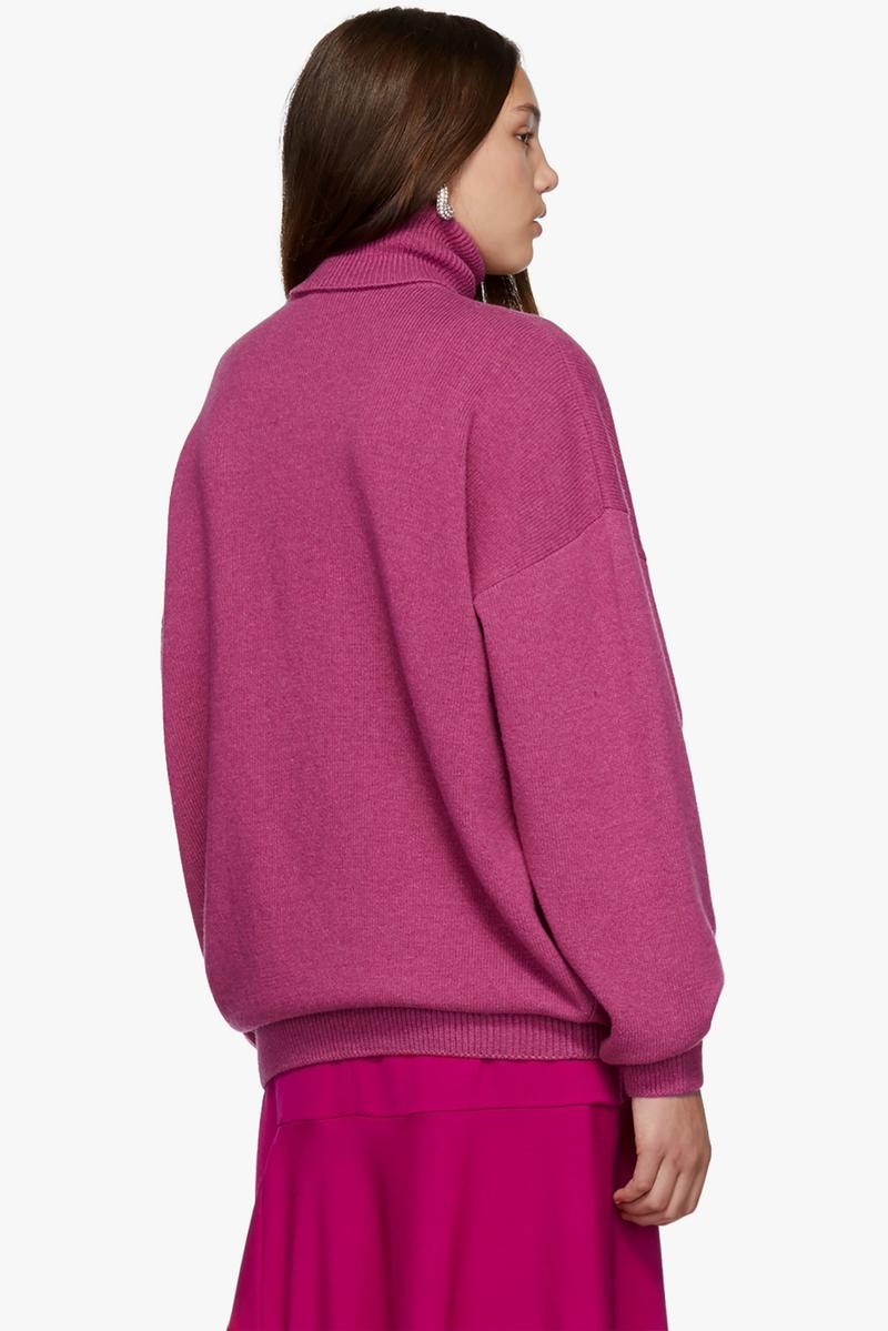 balenciaga logo cashmere turtleneck sweater designer pink fall fashion top
