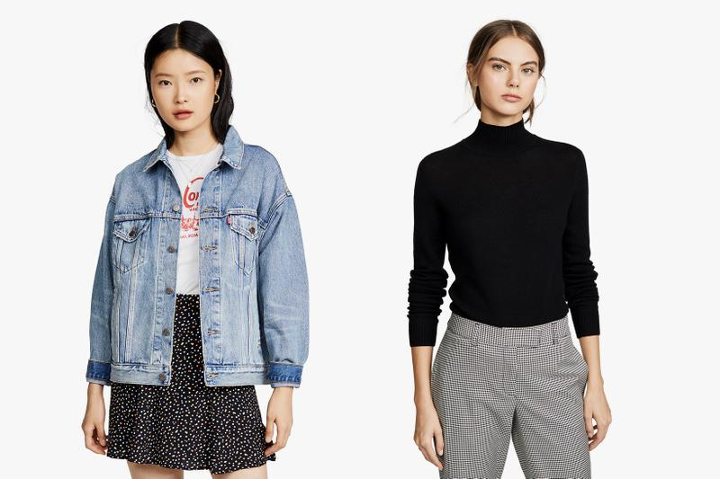 best fall basics wardrobe levis rag and bone theory club monaco madewell clothes turtleneck denim leather jacket coat t shirt jeans skirt affordable