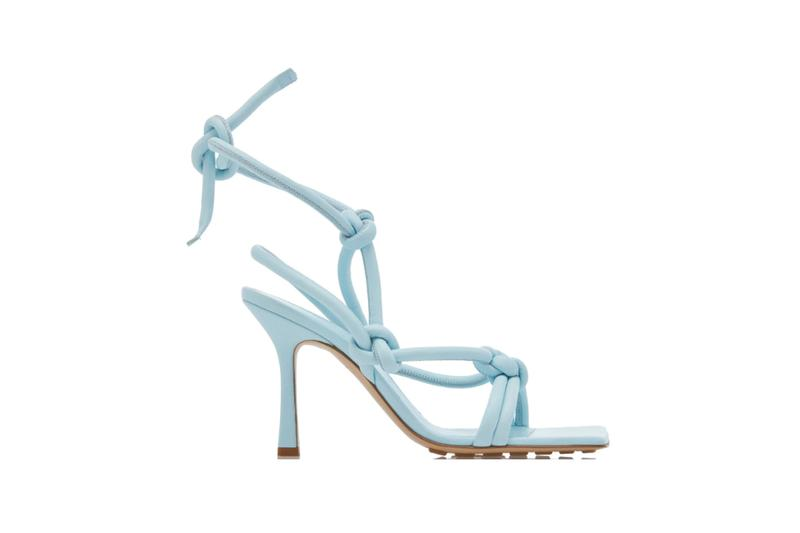 Bottega Veneta Dream Knotted Leather Sandals Blue