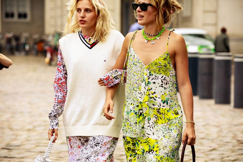 Copenhagen Fashion Week CPHFW Spring Summer 2020 Street Style SS20 Influencers Tommy Hilfiger Vest Knit Floral Dress Necklaces Layered