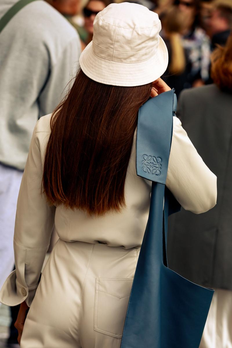 Copenhagen Fashion Week CPHFW Spring Summer 2020 Street Style SS20 Influencer Bucket Hat Loewe Bag