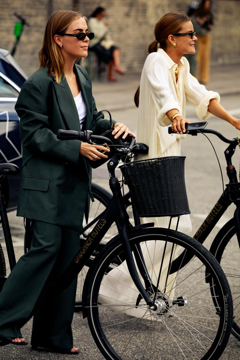Copenhagen Fashion Week CPHFW Spring Summer 2020 Street Style SS20 Influencers Bike Suit