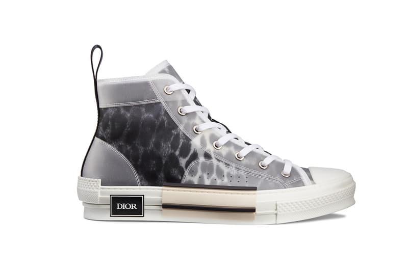 dior leopard print b23 sneaker gray grey high top
