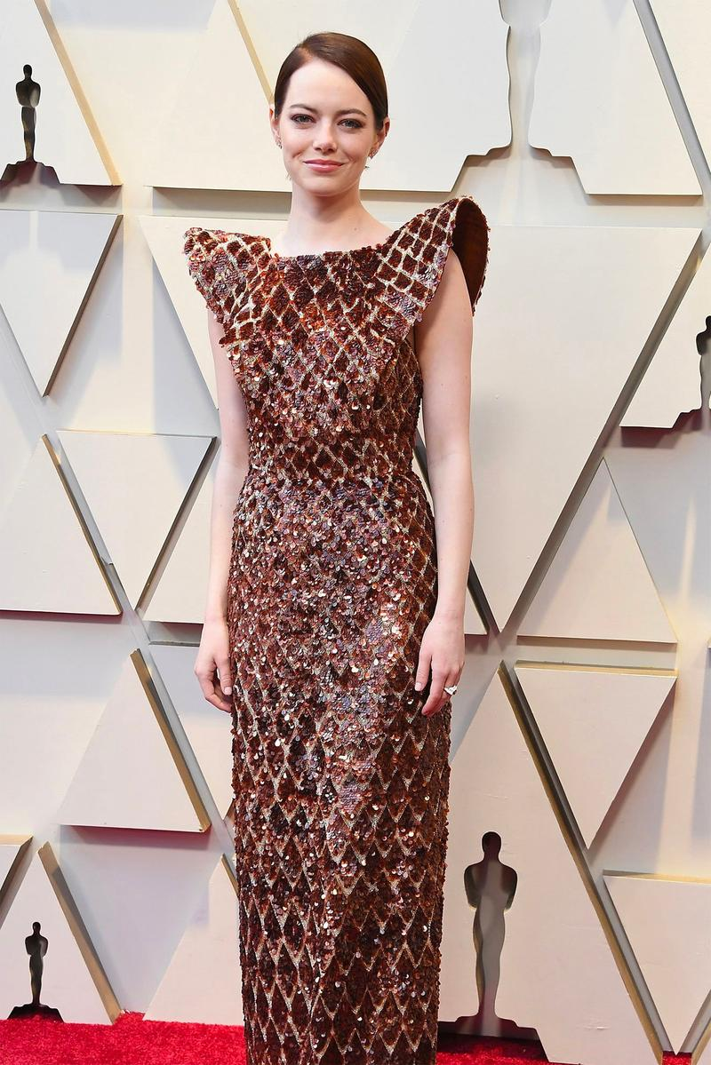 emma stone disney cruella actress oscars dress shoulder louis vuitton