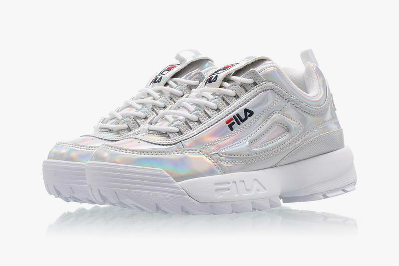 FILA Disruptor 2 Chunky Sneaker Trainer Holographic Silver Shiny