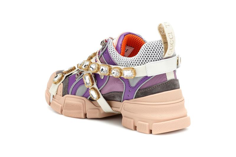 gucci flashtrek womens chunky sneakers purple crystals pink beige price