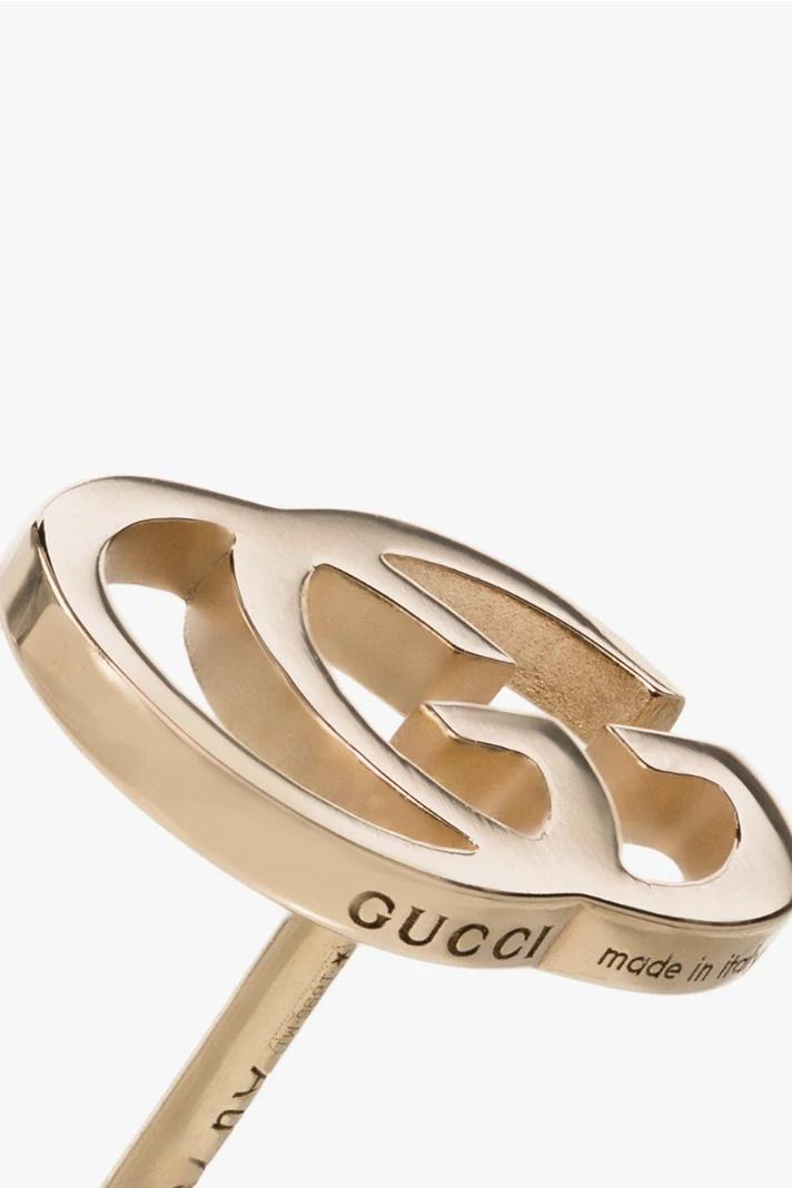 Gucci Gold Logo Earrings 18K Jewelry Piece Luxury Accessories Statement Everyday Jewellery Studs