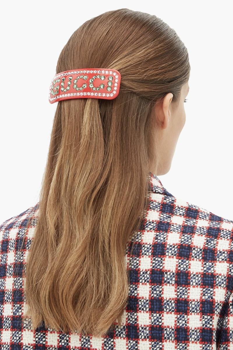 Gucci Rhinestone Logo Hairclip in Red Accessory Pin Statement Hair Trend Fashion