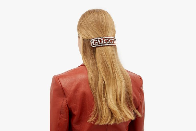 gucci logo hair slides crystals clips hairstyle brown black accessories