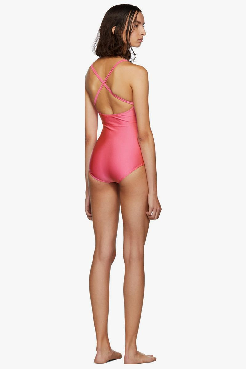 Gucci Sparkling Logo Swimsuit Pink Black