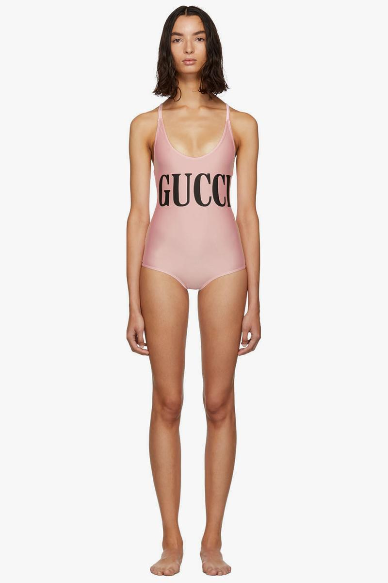 Gucci Sparkling Logo Swimsuit Light Pink Black