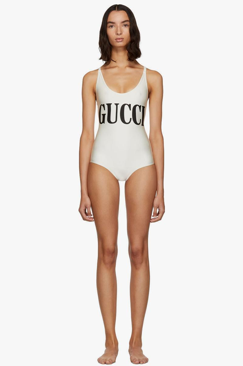 Gucci Sparkling Logo Swimsuit Off White Black