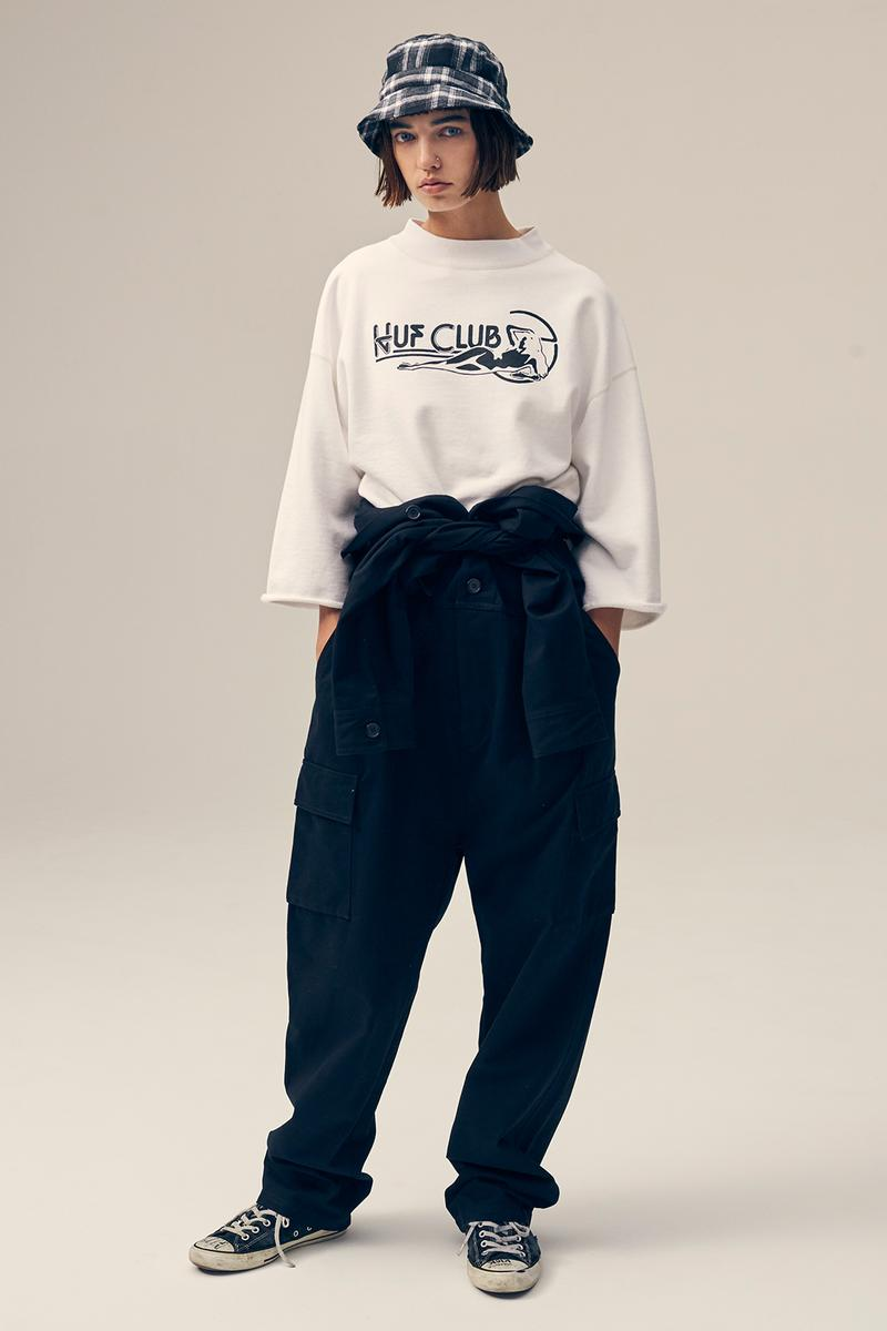 huf womens collection fall lookbook denim jackets coats jumpsuits sweaters skirts pants clothes fashion