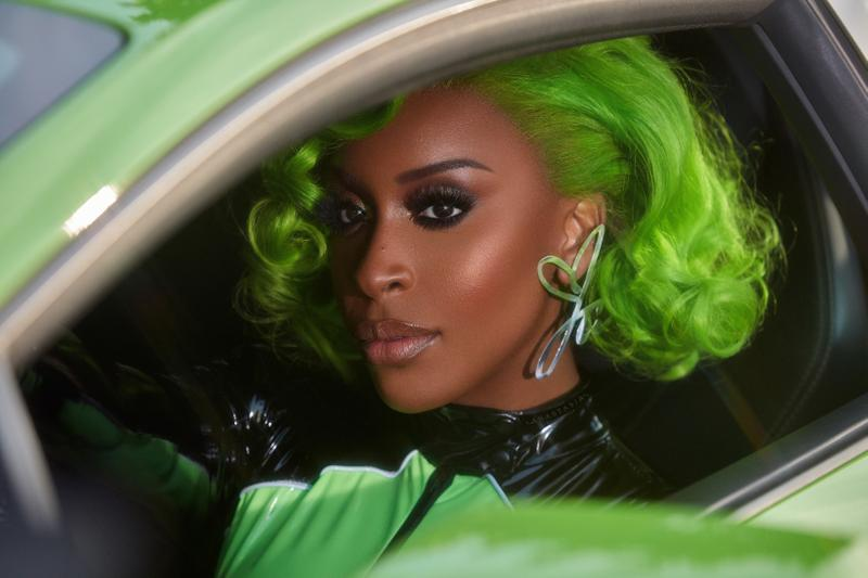 Jackie Aina x Anastasia Beverly Hills Eyeshadow Palette Campaign Hair Green