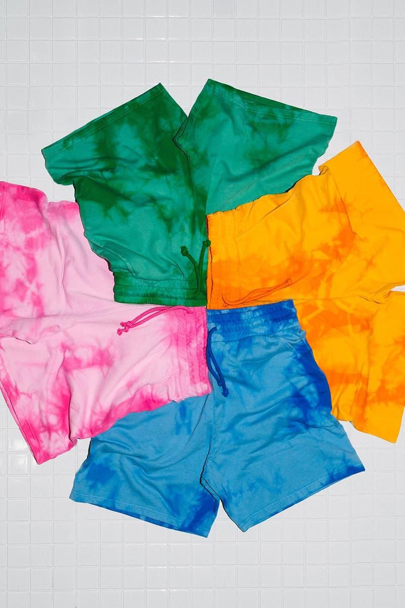 Magnus Ronning Unisex Brand Tie Dye Cotton Sweatshirt Shorts Orange Pink Green Blue Summer