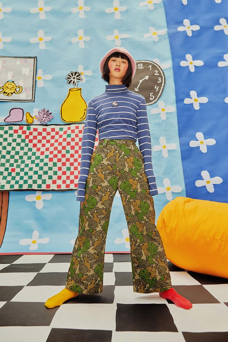 lazy oaf mr men collaboration lazy happy walter the worm cartoon childrens book knitwear pants t-shirts