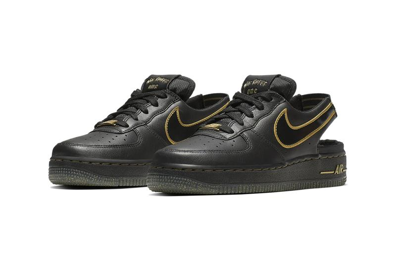 nike air force 1 vtf big kids sneakers black gold leather glitter back to school