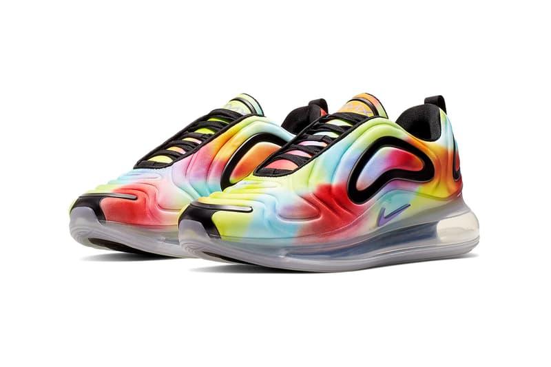 nike air max 720 tie-dye sneakers rainbow psychic purple colors