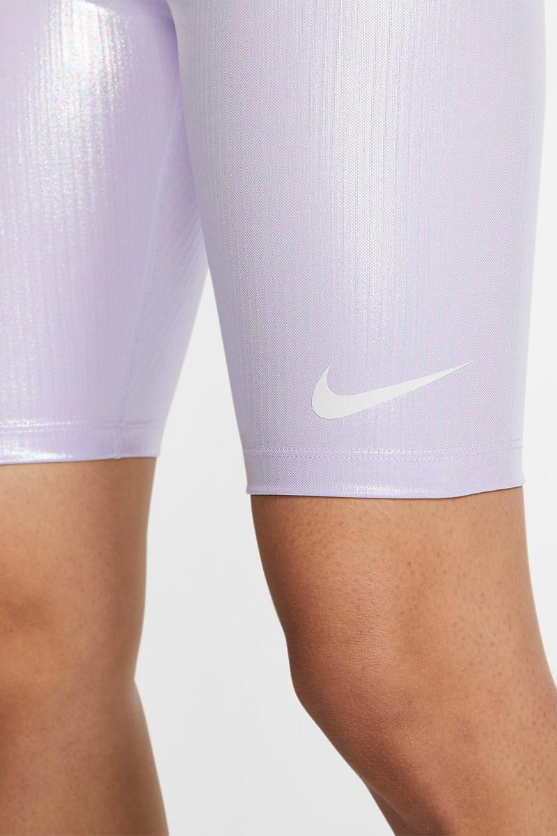 Nike Iridescent Oxygen Purple Shiny Bike Shorts 90s Trend Sportswear