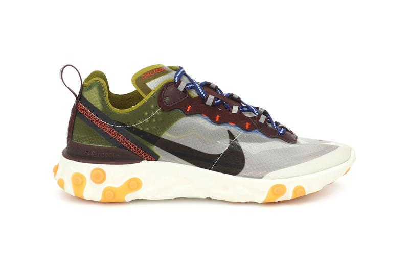 nike react element 55 womens sneakers moss black green safari athleisure