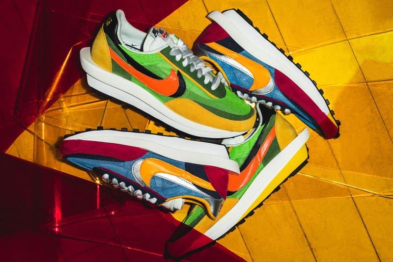 sacai x Nike LDWaffle Daybreak Collaboration Green Yellow Orange Blue Red White