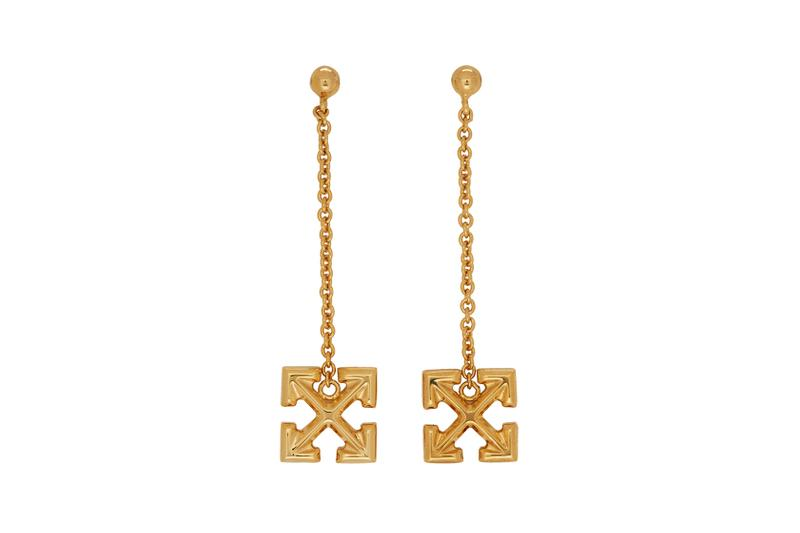 off-white earrings jewelry arrow gold