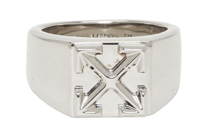 off-white jewelry ring silver arrow logo