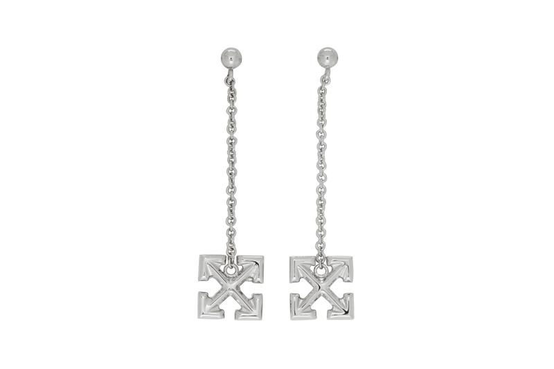 off-white earrings jewelry arrow silver