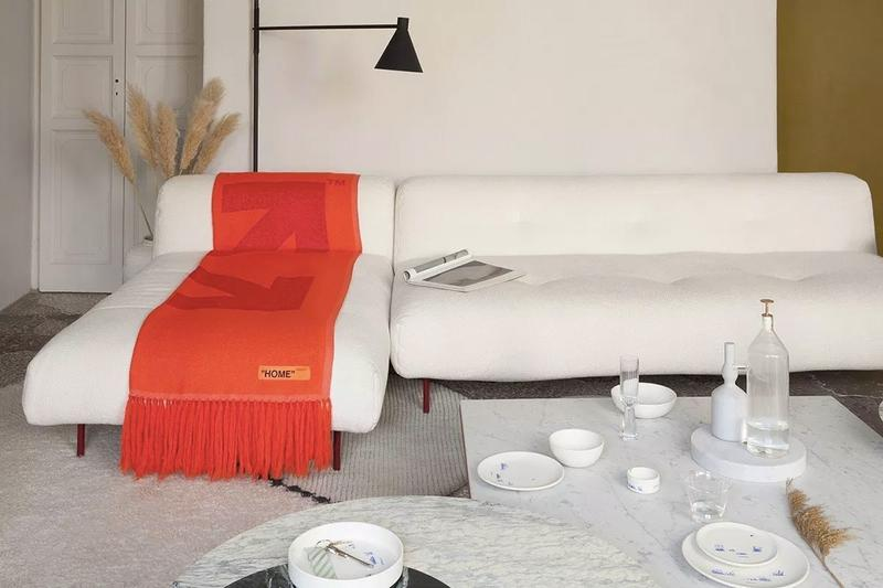 Off White HOME Collection Throw Orange
