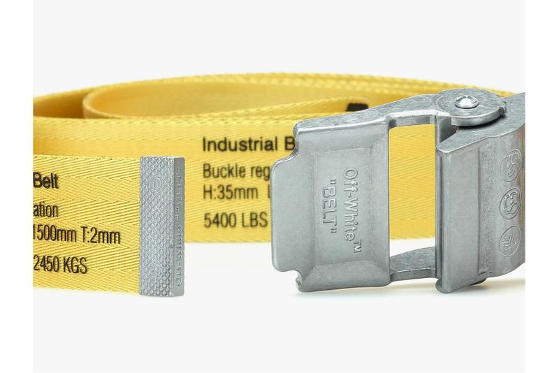 off white industrial belt yellow black silver metal accessories