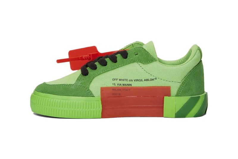 Off White Low Vulcanized Sneaker Green