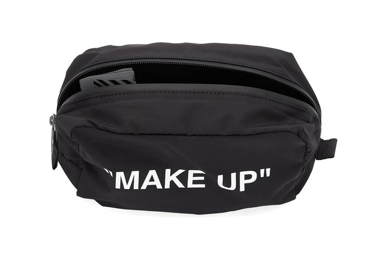 off white makeup pouch black travel bag accessories