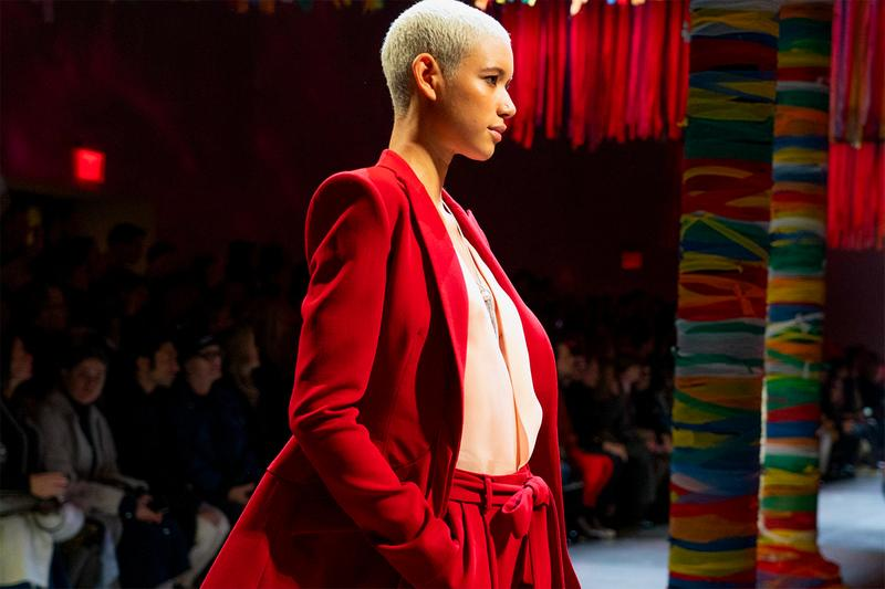 Prabal Gurung Fall Winter 2019 Dilone Runway Show Red Suit New York Fashion Week