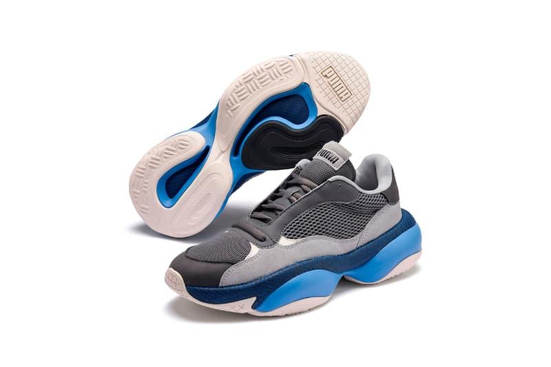 puma alteration blitz castlerock high rise chunky dad sneaker blue grey white