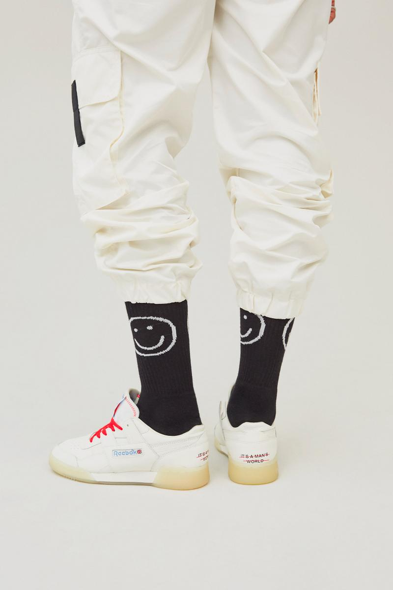 Reebok It's A Man's World Campaign Workout WondaGurl Socks Black Sweatpants White