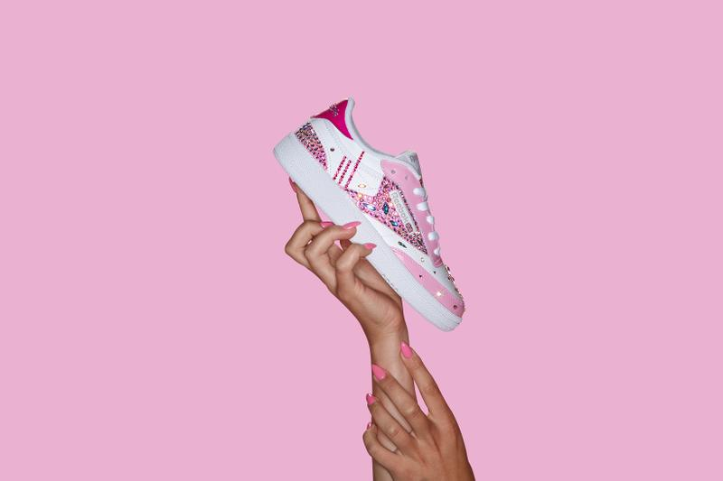 reebok limited edition crystal coated club c sneakers cardi b nails pink release shoes footwear sneakerhead swarovski amazon google home