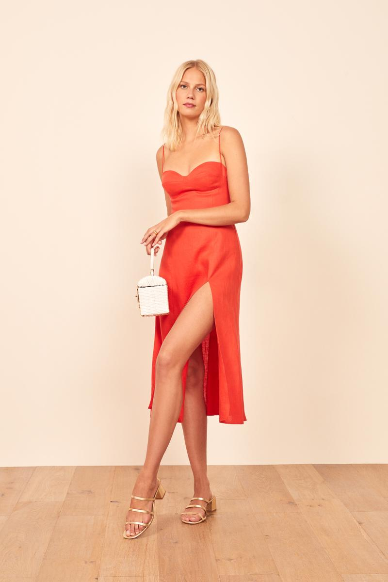 Reformation Nebraska Dress Hot Day Red