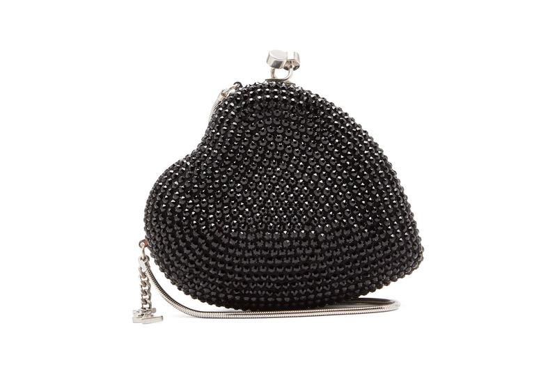 saint laurent love box clutch heart-shaped black crystals bags
