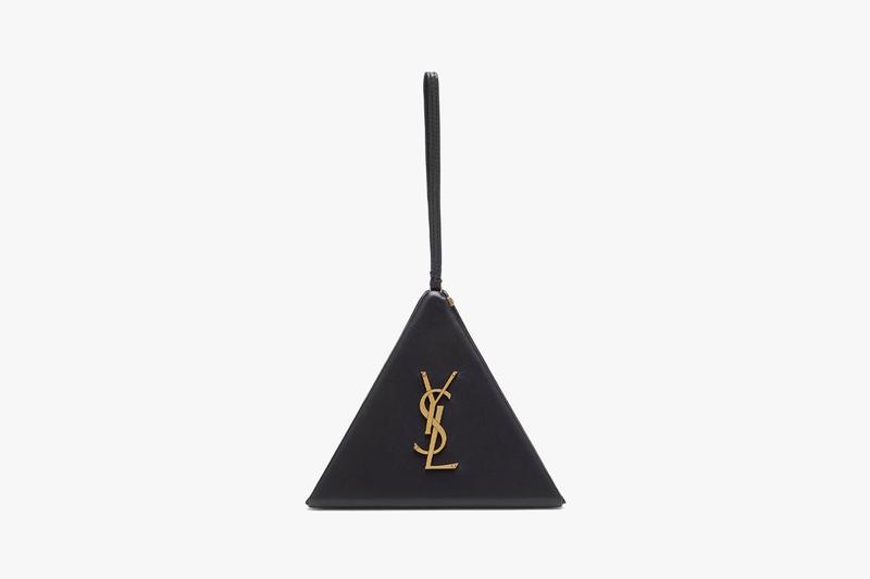 saint laurent clutch black leather pyramid designer bags purses