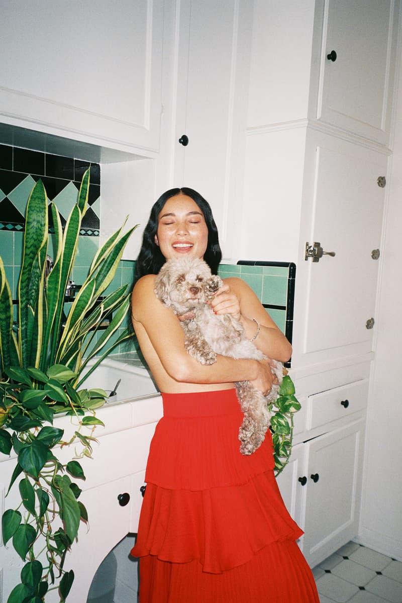 SOSUPERSAM Samantha Duenas Dj Singer Dog Pet Red Skirt Home Kitchen Wavy Hair Plants