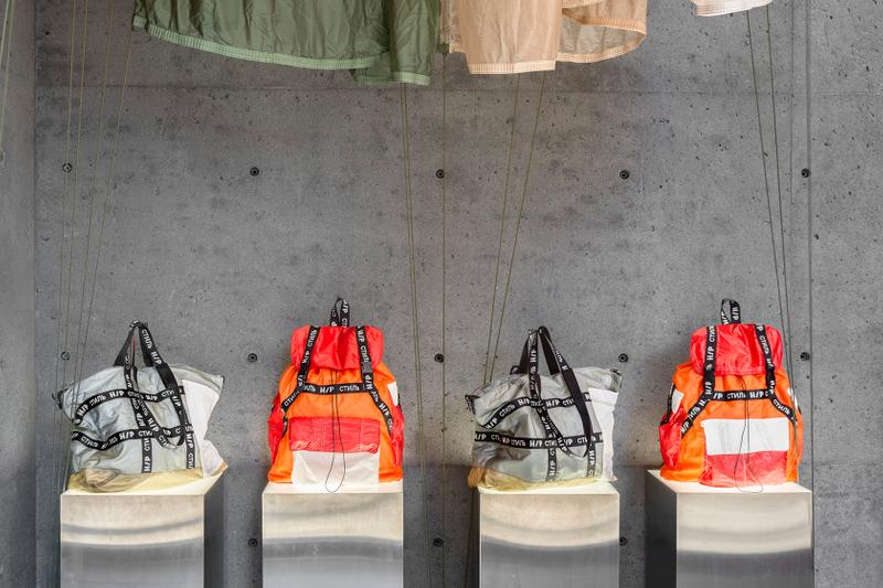ssense heron preston jump upcycled parachutes pop-up backpacks totes t-shirt windbreaker jackets shorts pants