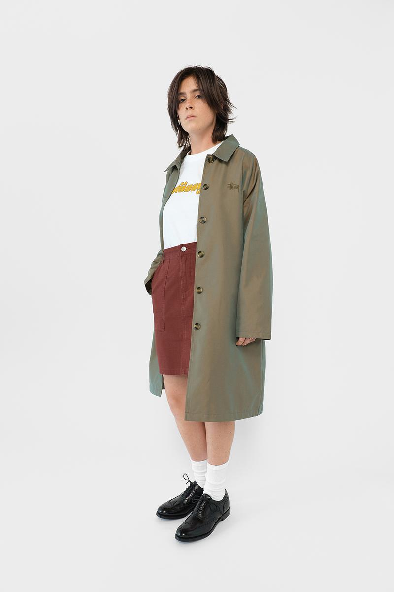 Stussy Womens Fall Winter 2019 Collection Lookbook Jacket Grey Shirt White Skirt Maroon