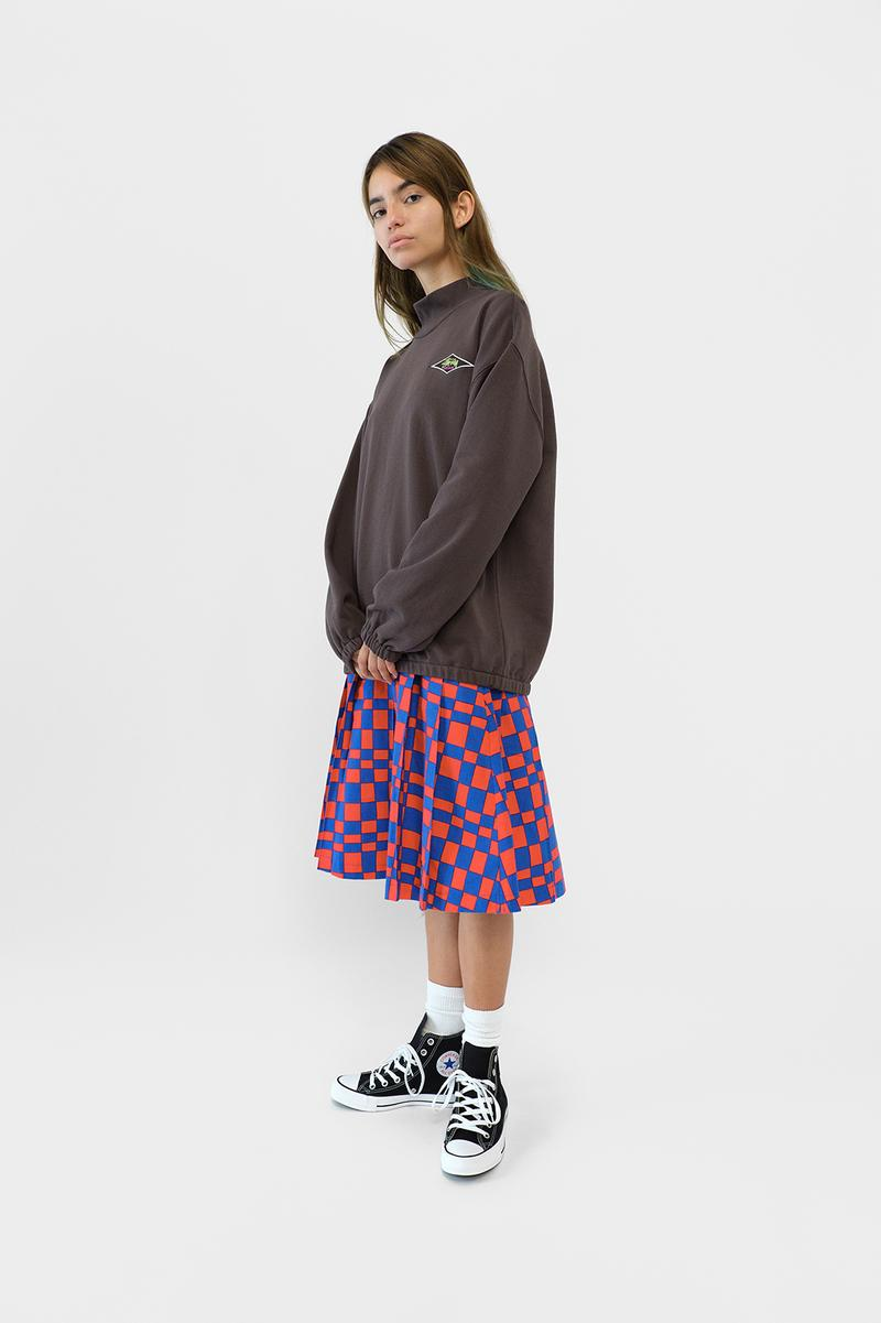 Stussy Womens Fall Winter 2019 Collection Lookbook Jacket Grey Skirt Red Blue