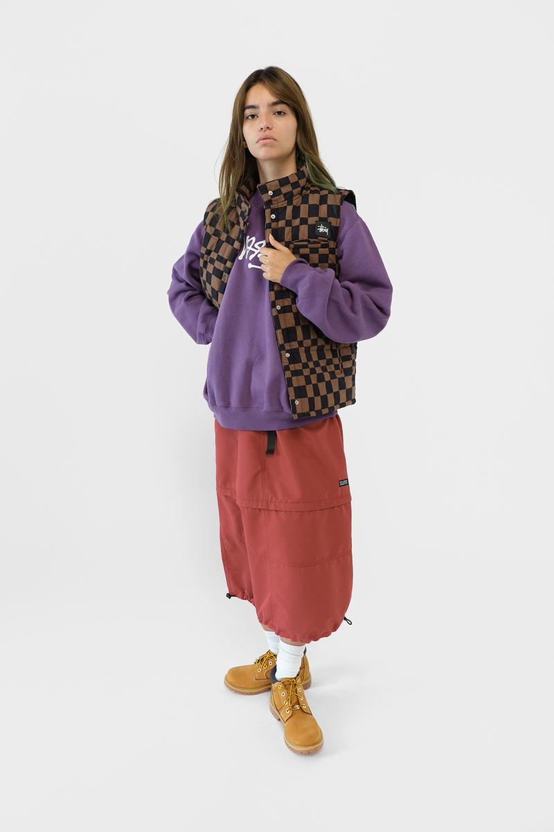 Stussy Womens Fall Winter 2019 Collection Lookbook Hoodie Purple Skirt Red