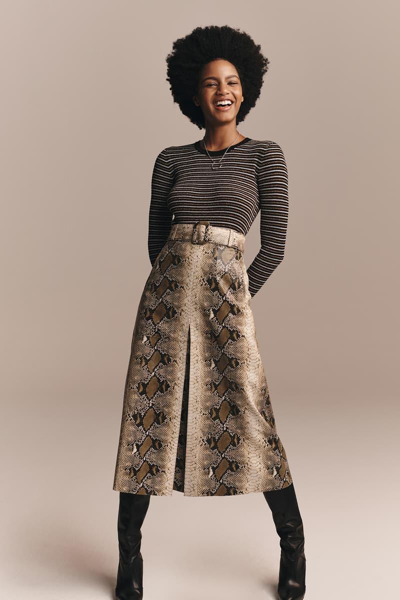 TommyXZendaya Fall Winter 2019 Collection Lookbook Ebonee Davis Shirt Grey Skirt Brown Tan