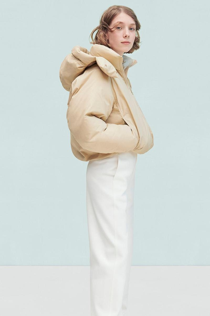 Uniqlo U Fall Winter 2019 Lookbook Puffer Coat Tan Pants White