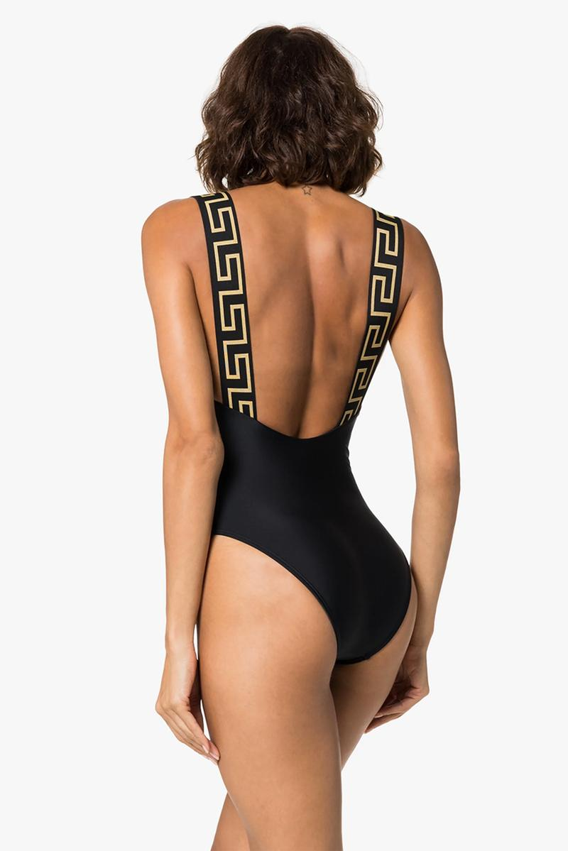 versace greca border swimsuit swimwear black pink gold summer