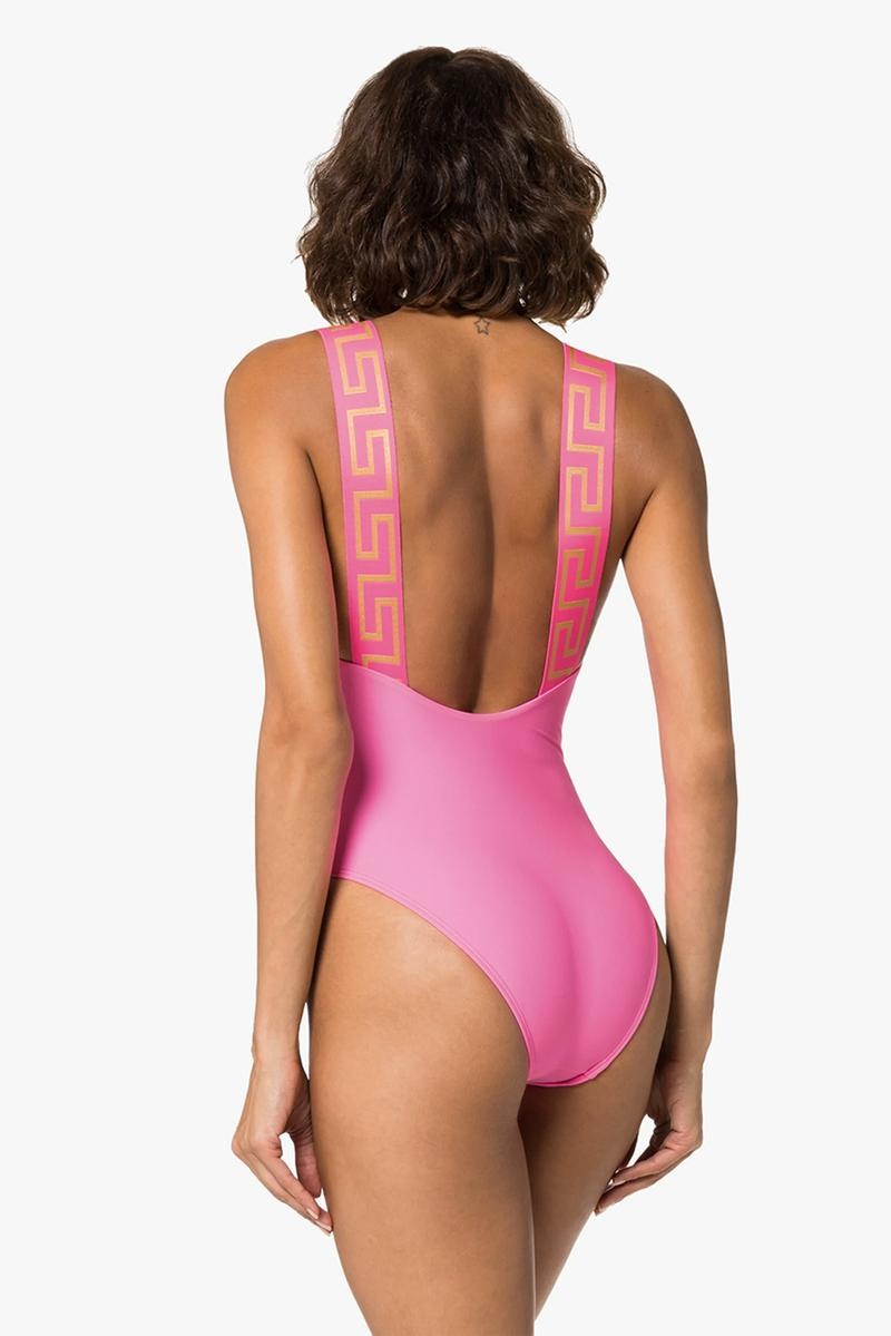 versace greca border swimsuit swimwear black pink gold summer