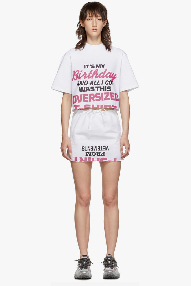 Vetements Happy Birthday T Shirt Dress Pack White