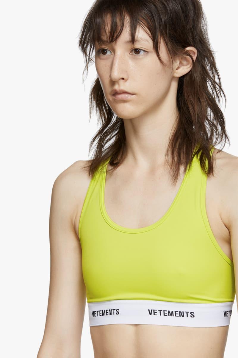 vetements logo band sports bra neon yellow athleisure sportswear fitness workout